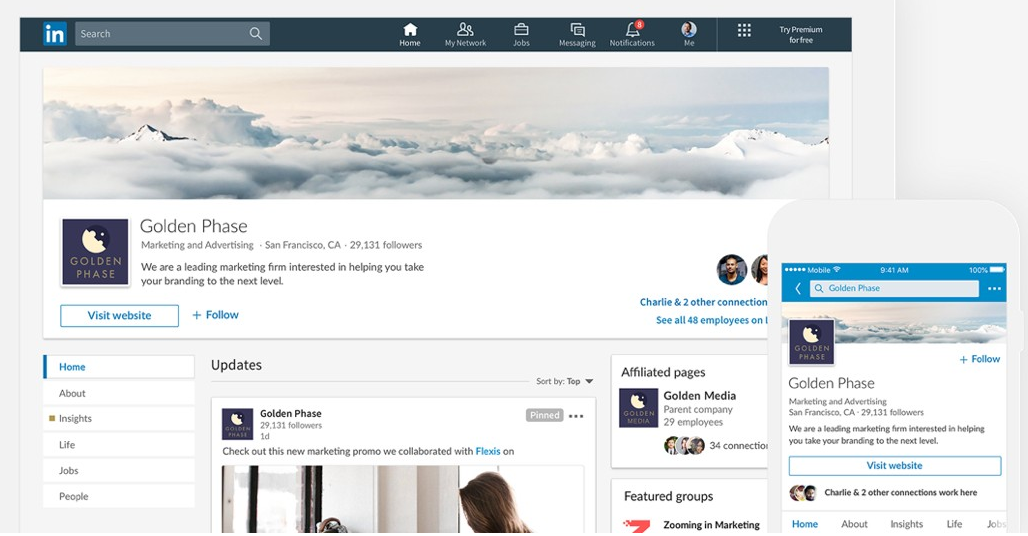 Picture of LinkedIn Company Page and Phone App Together