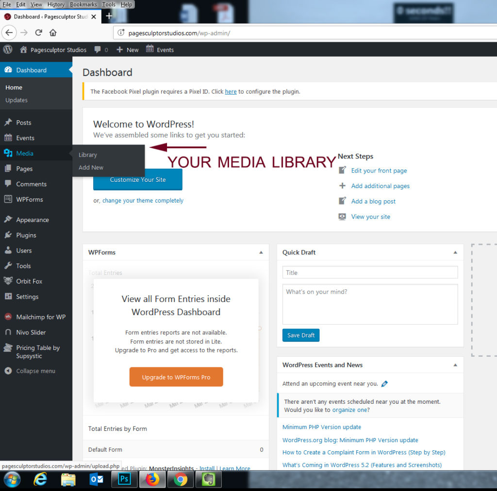 Picture of Dashboard View to Access Media Library