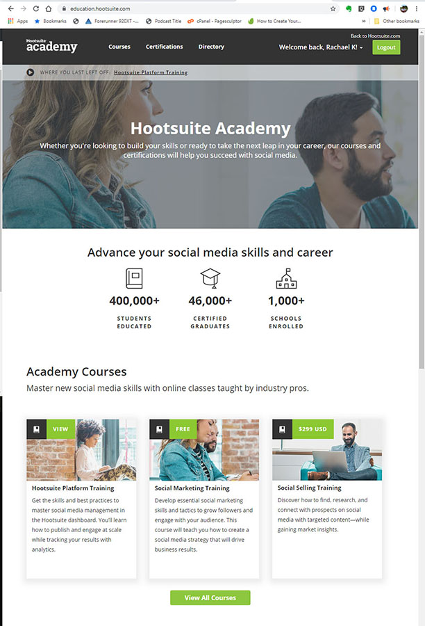 Landing page for Hootsuite Academy where you can learn how to use the Hootsuite Social Media Platform.